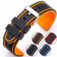 Watch Band Silicone Strap 20mm 22mm 24mm 26mm Women Men Rubber Buckle Bracelet