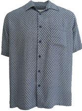 NWT Mens Silk Camp Shirt Hawaiian Cool Retro Blue Diamonds 50s Casual Poker XL