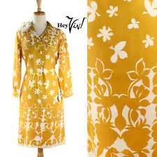 60s 70s Mustard Yellow & White Flowers Mod Dress - Vintage Bold Floral Print