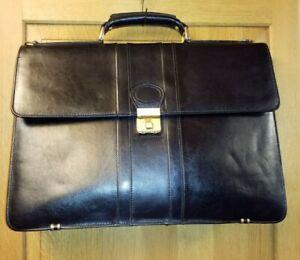 Tula Vintage Black Leather Briefcase  Document Holder Laptop Work Business Bag