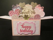 Handmade 3D Card in a box -Sweet 16 ,PERSONALISED