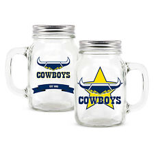 NRL North QLD Cowboys TEAM Glass Mason Jar With Handle Fathers Day Man Cave Gift