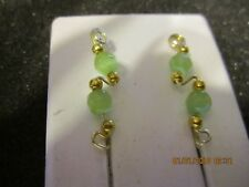 Pair Green Cat Eye Ear Vines Climbers Ear Pins Gold Tarnish Resistant Wire