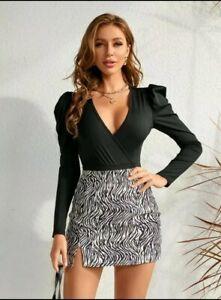 BNWT Shein Bodysuit Plunge Neck Black Size Small 8