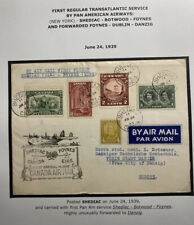 1939 Shediac Canada First Flight Airmail Cover To Danzig Via Foynes Ireland