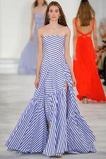 RALPH LAUREN COLLECTION Blue White Stripe Ruffle Bustier Dress Gown 0 2