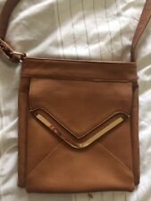 Tan Cross Body Bag With Gold Detail