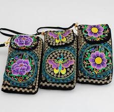 2PCS/LOT Women Clutch Wallet change coin purse Purple Embroidered Phone bag