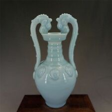 China antique Porcelain Qing QianLong Celadon Glaze Binaural drgon Vases
