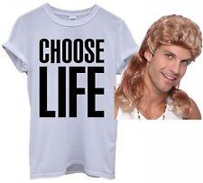 Mens Choose Life T Shirt George Michael 80s 90s Wham Fancy Dress + Mullet Wig