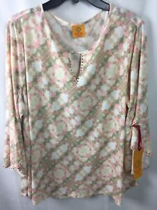 Ruby Rd. Top Blouse Size 2X Plus Rose All Day 3/4 Sleeve Floral 26250 Multi F2