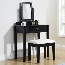 SHAKER DRESSING DRESSER TABLE SET MAKEUP DESK & FABRIC PADDED STOOL SEAT BLACK