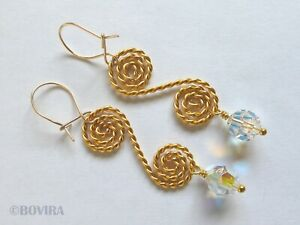 Gold Plated Spiral Earrings with Swarovski Crystals-Twisted Wire-Gift-Present
