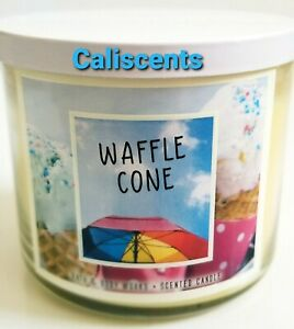 BATH & BODY WORKS WAFFLE  CONE SCENTED THREE WICK CANDLE 14.5 OZ 2018 EDT