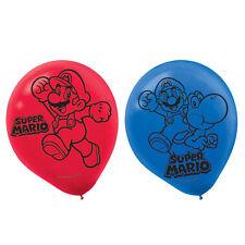 """6 Super Mario Bros Gaming Birthday Party 12"""" Printed Latex Balloons"""