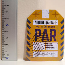 #4508 Paris France PAR Tag Vintage Retro Air Travel Luggage Label Decal Sticker