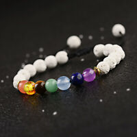 7 Chakra Reiki Owl Helmet Buddha Mixed Natural Round 8mm Beads Braided Bracelets