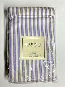 NEW Ralph Lauren TWO KING (2) Pillowcases STUDIO WILD ASTER Purple White Stripe