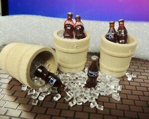 Three (1/2 Wine Barrels )+ 6 Coca-Cola/Pepsi Combo.on Ice 1:24 scale Miniature