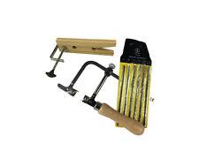 """Set of 144 Asstd Blades, Adjustable Piercing Saw Frame & 8"""" V Slot Clamp. J1522"""