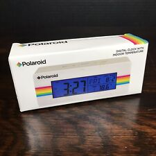 Polaroid Digital Clock With Indoor Temperature Thermostat Vintage Rainbow White