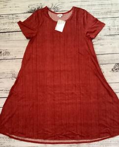 NWT LuLaRoe Medium Jessie Dress - Red with Veritical Heathering