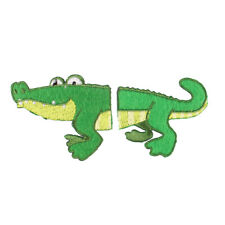 Green//White Gator//Reptile Iron on Applique//Embroidered Patch Natural Crocodile
