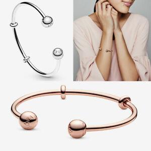 Brand New - Genuine Pandora Rose Gold Moments Open Bangle Bracelet + Box UK