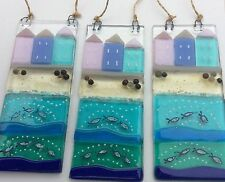 Fused Glass Seaside Sun Catcher Beach Sea Fish Tile Picture Hanging Gift