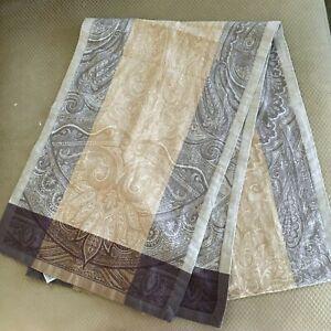 Williams Sonoma Table Runner Linen Cotton Jacquard 17 x 104 Gold Plum Paisley