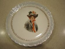 """Antique 1907 Philip Boileau Lady Demure Collector Plate --Sterling China 8.5""""-2"""