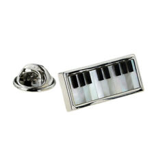 Mother of Pearl Insert Piano Keyboard Lapel Pin Badge X2AJTP888