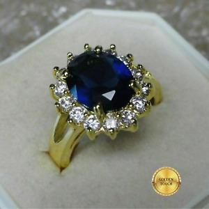 Womens GF Blue Sapphire Diamond Ring, Made With Swarovski Crystals, Various Size