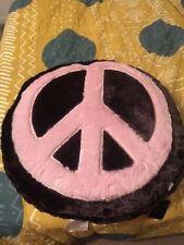 Huge Pillow by Thro Peace-Sign Appliqued / Hippie / Decor / Dorm / Kids / Teens