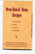 HEINZ OVEN BAKED BEANS RECIPES FOLD OUT LEAMINGTON ONTARIO CANADA