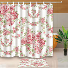 Pink floral shower curtains for sale ebay new flower pink roses vine shower curtain bathroom fabric 12hooks 7171inches mightylinksfo