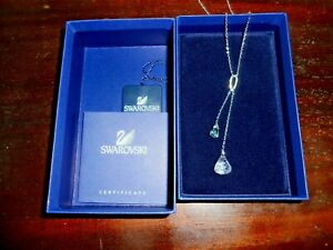 "Swarovski ""Y"" Necklace, Dangling Blue Topaz Simulated Crystal"