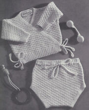 Vintage Knitting PATTERN to make Baby Sursplice Shirt/Sweater Diaper Cover Set