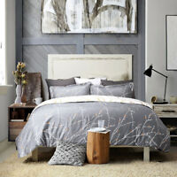 Bedsure Duvet Cover Set Grey/Ivory Printed Soft for Comforter Queen Pillow Shams
