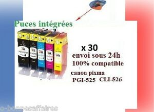 30 Cartridges No-Oem Canon Pixma IP4850 4950 MG 5150 5250 5350 8150 MX885 PGI525