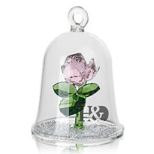 H&D Pink Crystal Enchanted Rose Flower Figurine Dreams Ornament in a Glass Dome