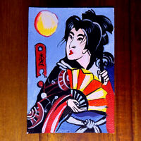 Original painting ACEO hand painted OOAK signed oriental art 芸妓 girl