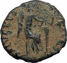 Aelia flacilla Teodosio I esposa 383AD antigua moneda romana victoria Chi-rho i67679