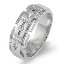 0.25 Ct Three Stone Round Diamond Band Men's Wedding Ring 14k Gold White F Vs1
