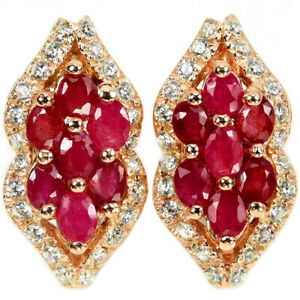 GENUINE BLOOD RED RUBY OVAL & WHITE CZ STERLING 925 SILVER DROP EARRING