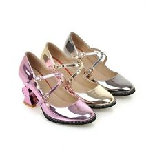 Stylish Hot Round Toe Patent Leather Womens Mary Janes Shoes Special Heels Sizes