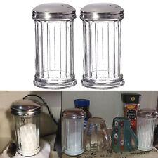Classic Retro Sugar Dispenser 12oz Pourer Shaker Glass Jar Thick Heavy Duty 2 Pc