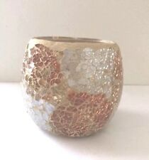 Gold Silver Cracked Glass Mosaic Tealight Globe Candle Holder