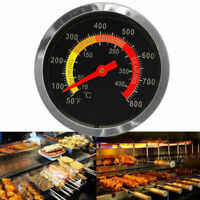 Barbecue BBQ Smoker Grill Thermometer Temperature Gauge 50-800℉ Stainless Steel