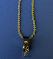 Yellow Aragonite bead id badge necklace lanyard with strap clip BDG990002